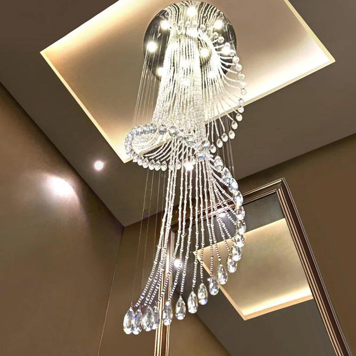 Luxury Round Spiral Rain Drop Clear K9 Crystal Chandelier for Hotel Hall Staircase Lighting Fixture