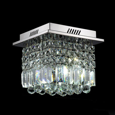 Mini Crystal Chandelier Square Flush Mount Ceiling Light