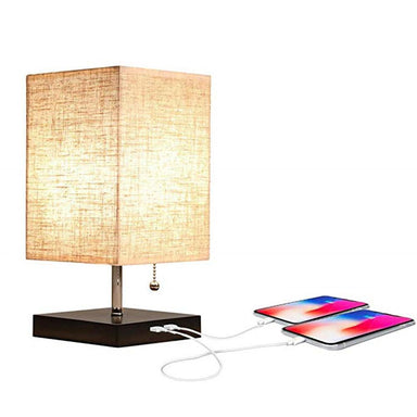 Mini Rustic Table Lamp with Two USB Charging Ports for Bedroom Nightstand