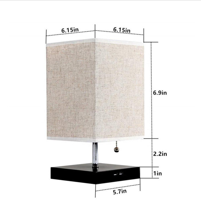 Mini Rustic Table Lamp with Two USB Charging Ports for Bedroom Nightstand - Dimensions Display
