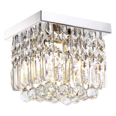 Mini Square Crystal Chandelier Flush Mount Ceiling Light