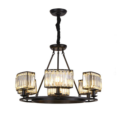 Vintage Farmhouse Round Crystal Chandelier Black