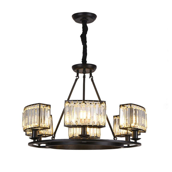 Vintage Farmhouse Round Crystal Chandelier Black - 7PM LIGHTING