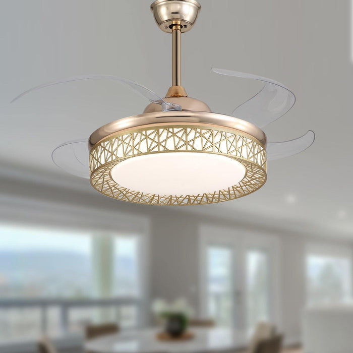"Modern Bird's nest shaped Chandelier Fan with Lights, 42"" Gold"