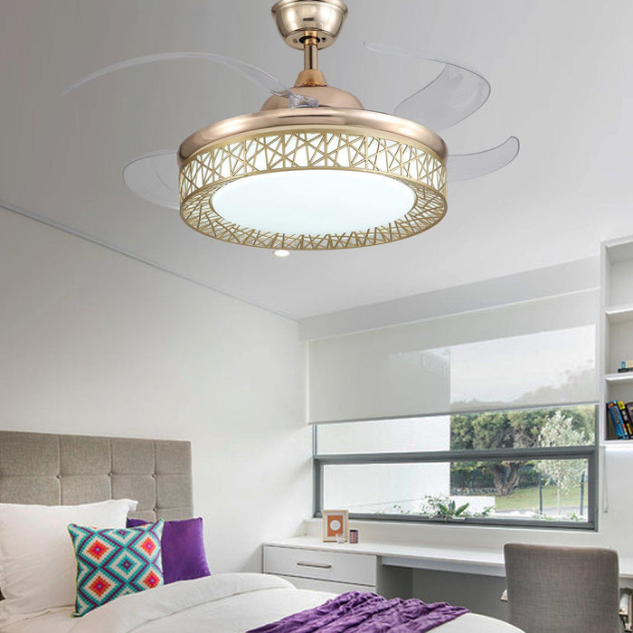 "Modern Bird's nest shaped Chandelier Fan with Lights, 42"" Gold - Bedroom"