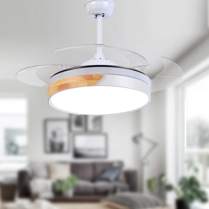 "Modern Macaron Ceiling Fan with Lights, 48"" White"