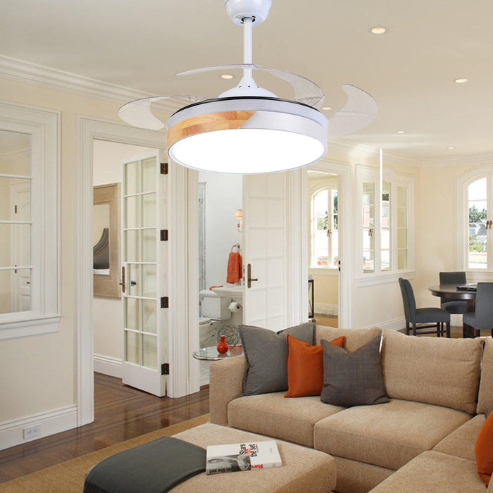 "Modern Macaron Ceiling Fan with Lights, 48"" White - Living room"