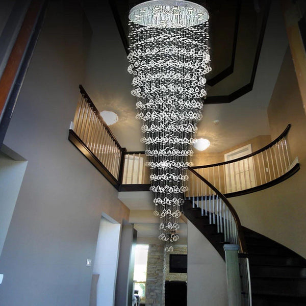 Modern Contemporary Crystal Chandelier Round Circle LED Rain Drop Lamp -  Staircase