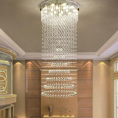 Modern Contemporary Luxury Crystal Chandelier Circle Rain Drop - Living Room