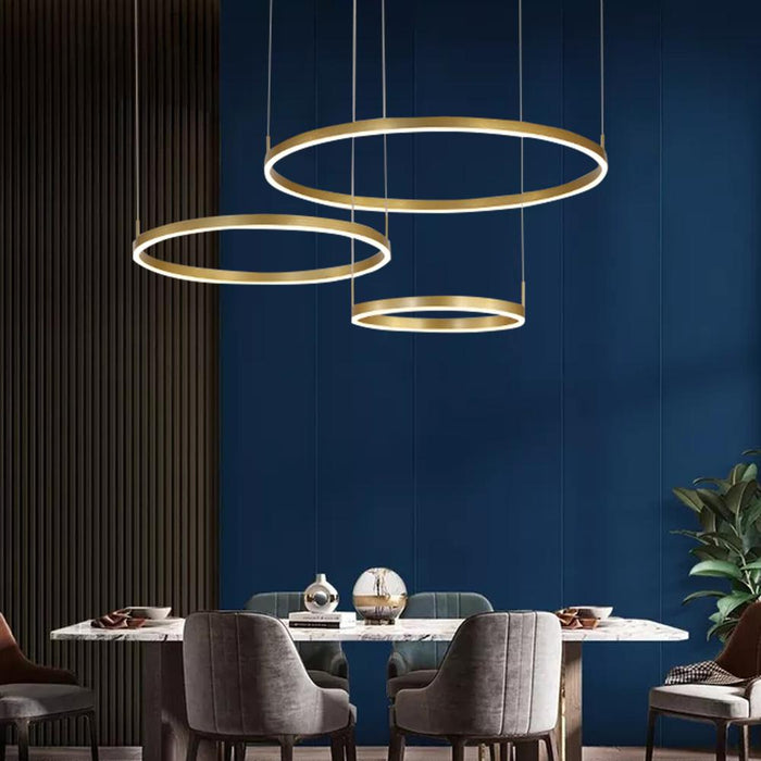 Modern Gold Ring Chandelier For Dining Room