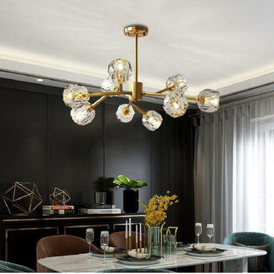 Contemporary Gold Sputnik Crystal Chandelier 9 Lights