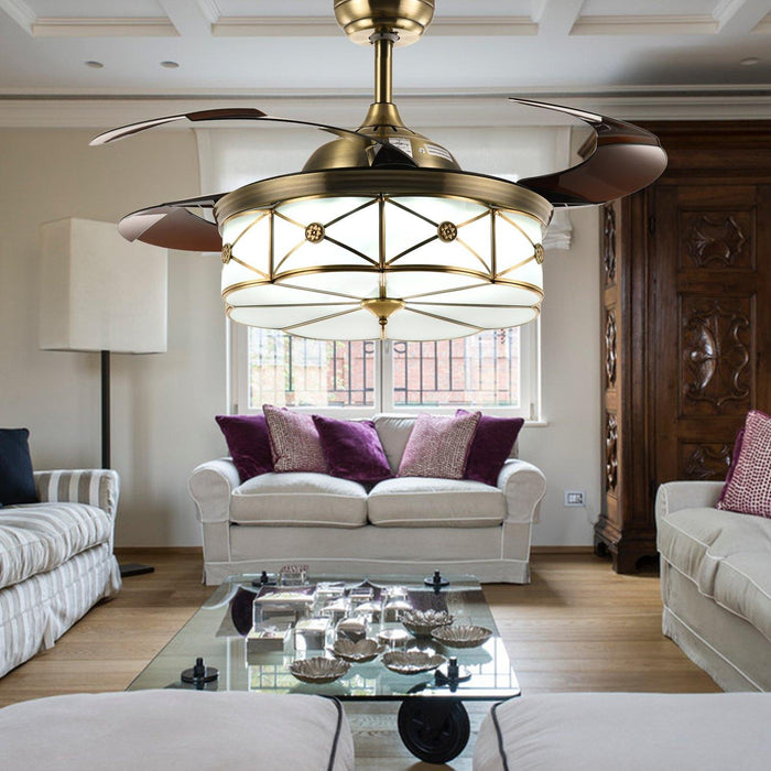 "Modern Invisible Fan with Dimmable Lights, 36"" Bronze - Living room"
