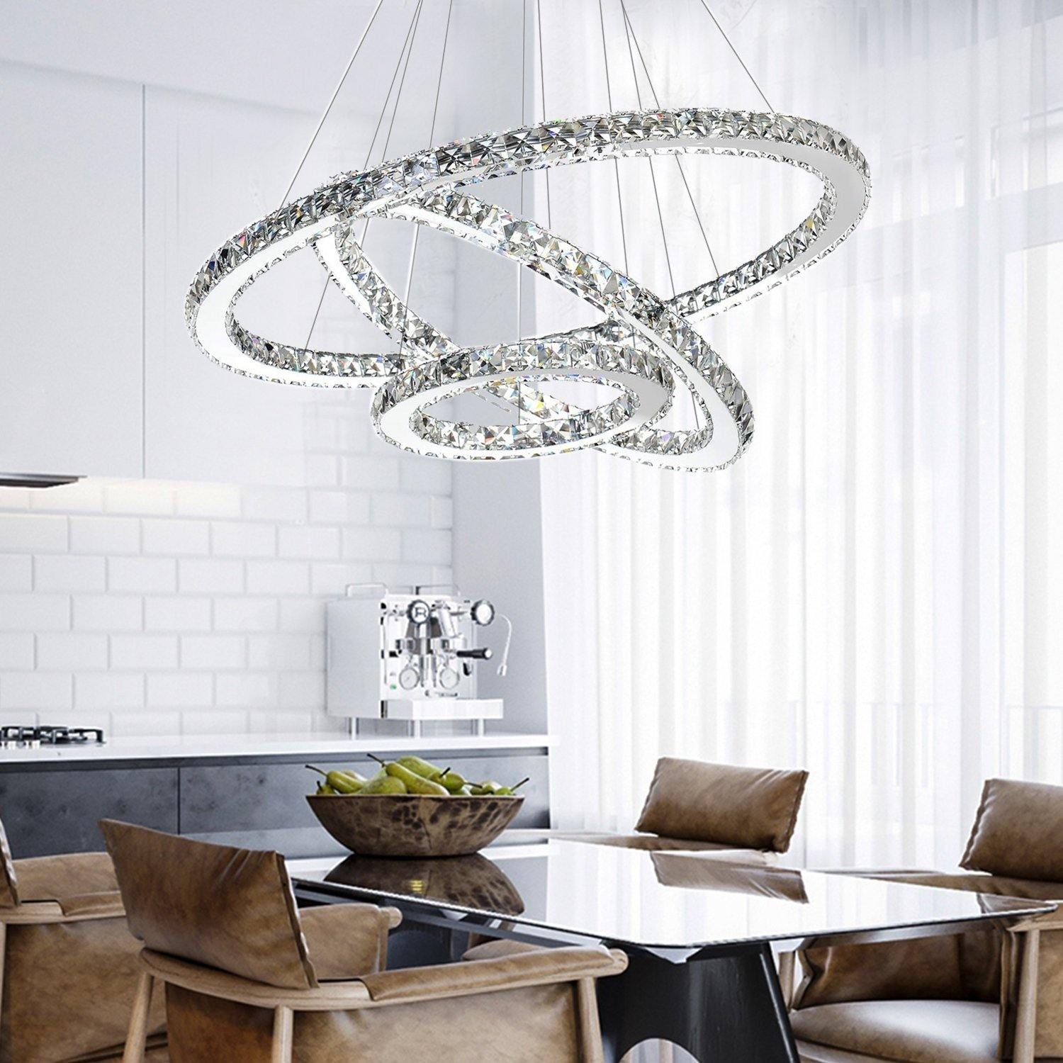Contemporary Ring Crystal Chandelier Led Pendant Light For Dining Room 7pm Lighting