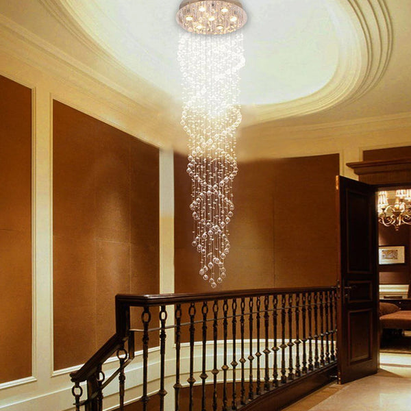 Modern Staircase Double Spiral LED Crystal Chandelier - Stair Case