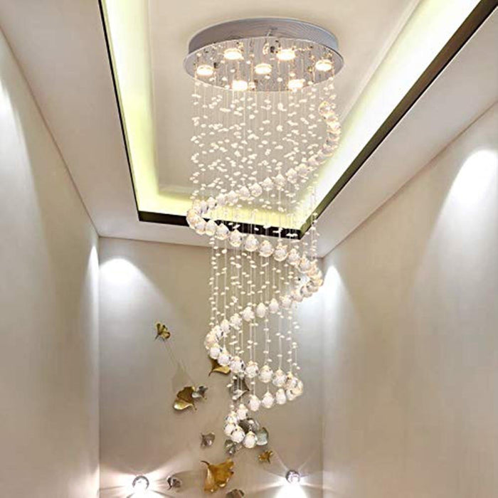 Modern Staircase Spiral LED Crystal Chandelier
