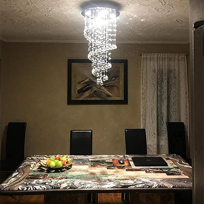 Modern Staircase Spiral LED Crystal Chandelier - Dining Room