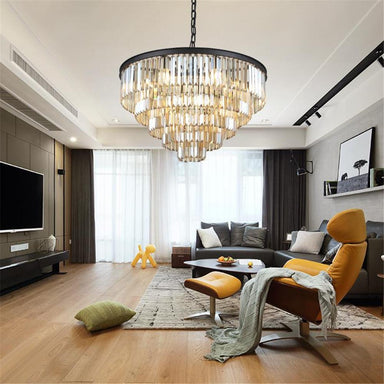 Multi-Tiered Round Crystal Chandelier - 7PM Lighting