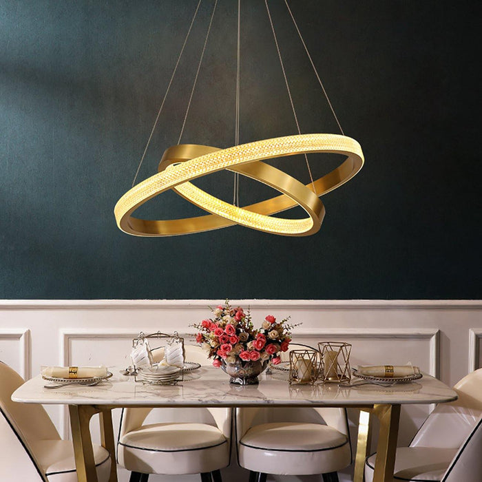 2 Rings Contemporary Gold Round Pendant Light - 7PM LIGHTING