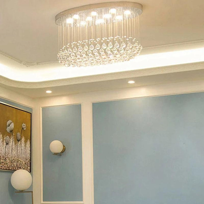 Oval Flush Mount Crystal Ceiling Light