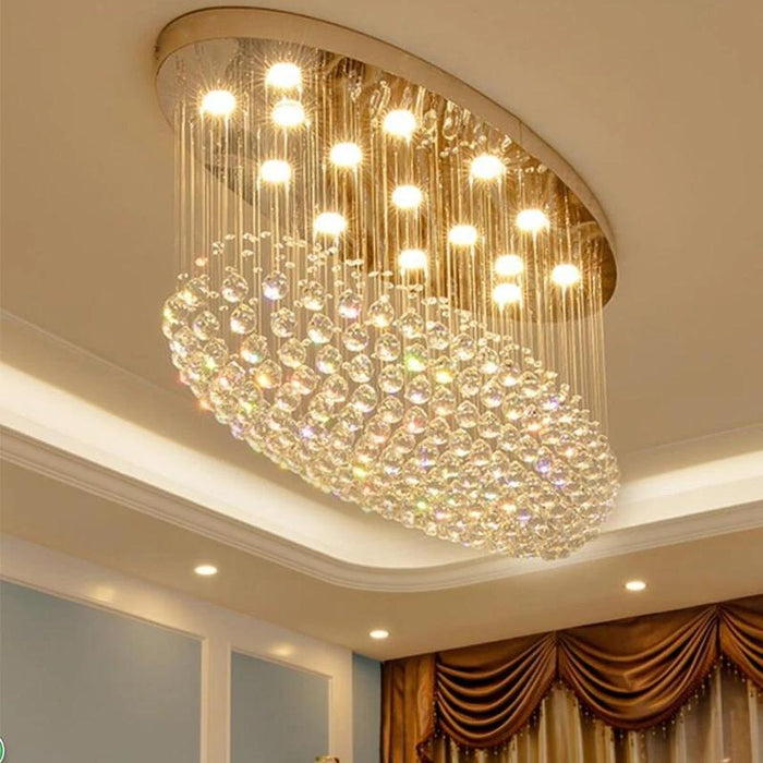 Oval Flush Mount Crystal Chandelier