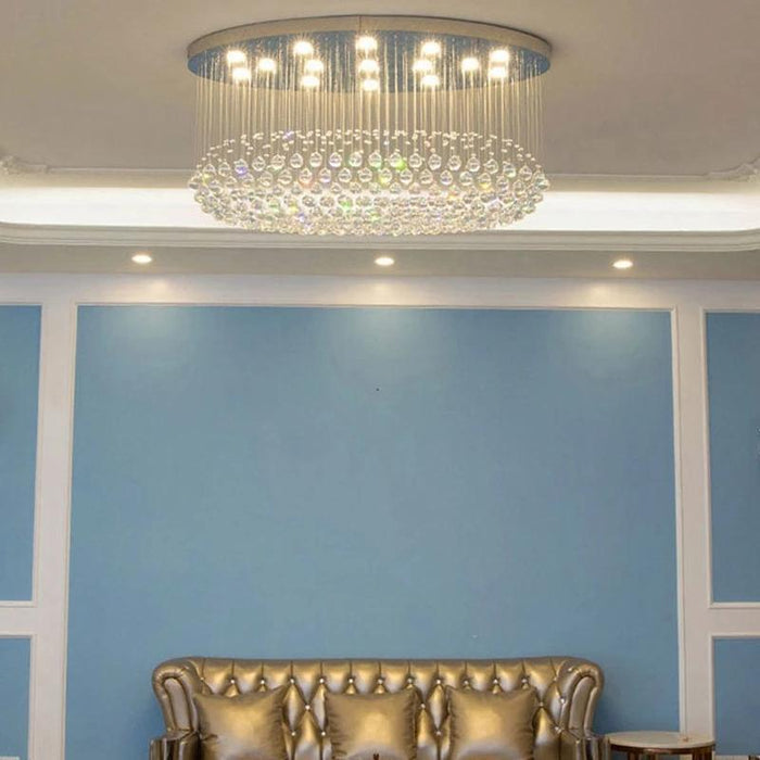 Oval Flush Mount Crystal Chandelier For Living Room