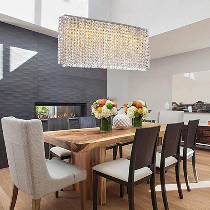 Oval Rectangular Crystal Chandelier Pendant Light - Dining Room