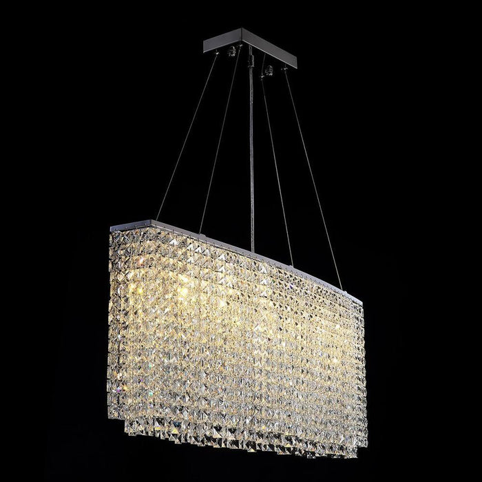 Oval Rectangular Crystal Chandelier Pendant Light - Lighting Effect Display