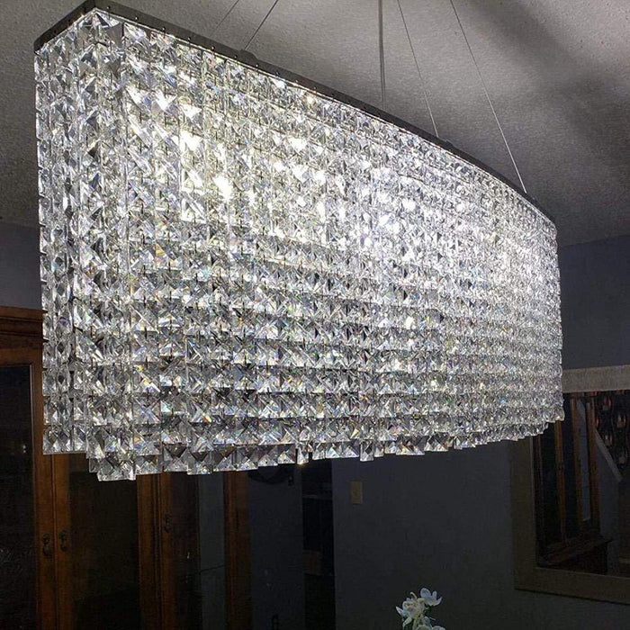Oval Rectangular Crystal Chandelier Pendant Light - Details
