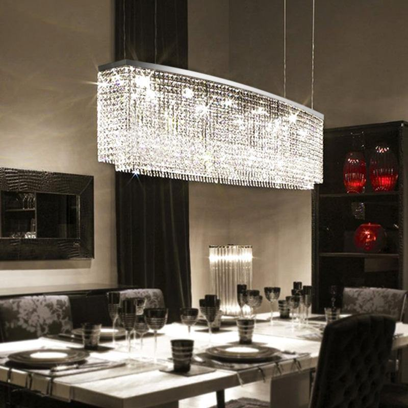 Modern Oval Rectangular Crystal Chandelier Pendant Light
