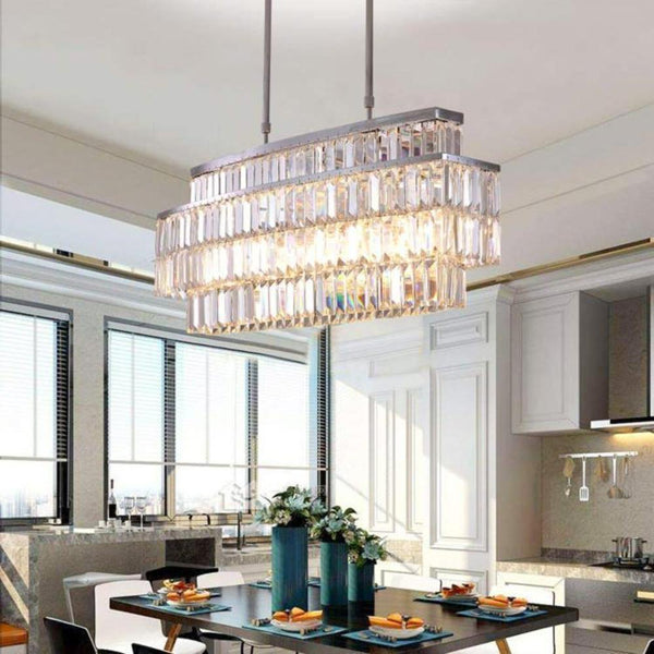 Oval Rectangular Crystal Chandelier Rod-Type Pendant Light
