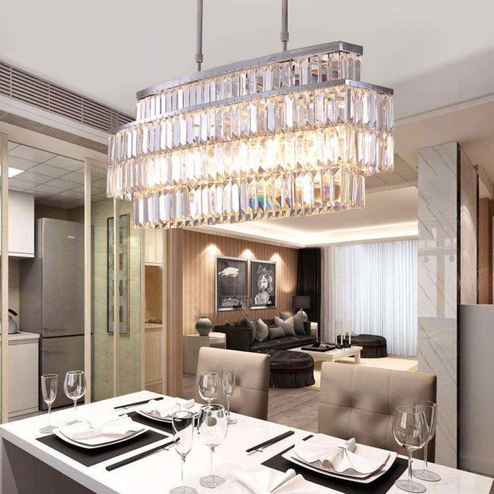 Oval Rectangular Crystal Chandelier Rod-Type Pendant Light - Dining Room