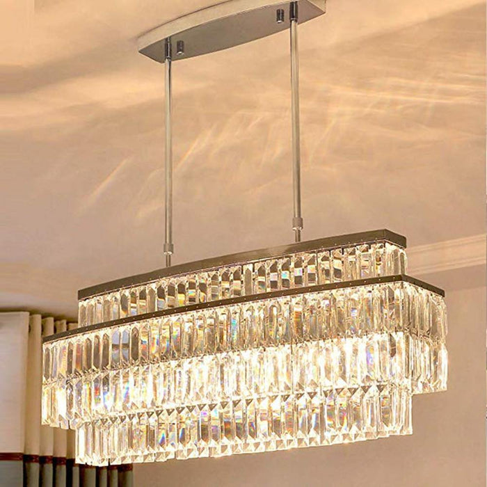 Oval Rectangular Crystal Chandelier Rod-Type Pendant Light - Lighting Effect Display