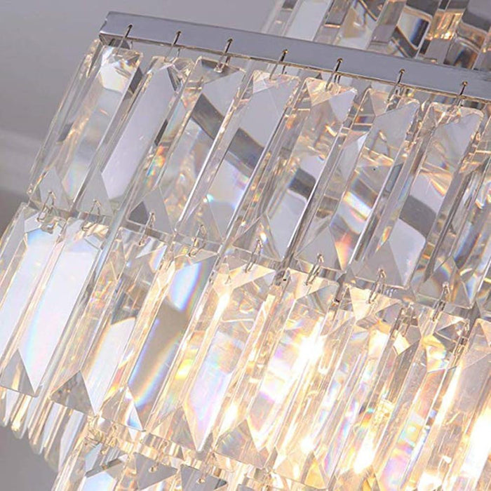 Oval Rectangular Crystal Chandelier Rod-Type Pendant Light - Details
