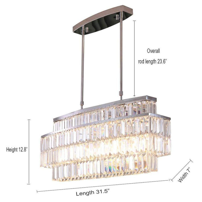 Oval Rectangular Crystal Chandelier Rod-Type Pendant Light - Dimensions Display