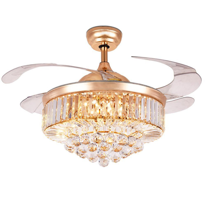 "42"" Retractable Crystal Chandelier Ceiling Fan with 4 Blades Gold/Chrome"