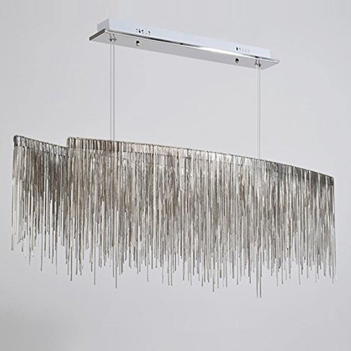 Post Modern Rectangle Aluminum Tassel Linear Chandelier