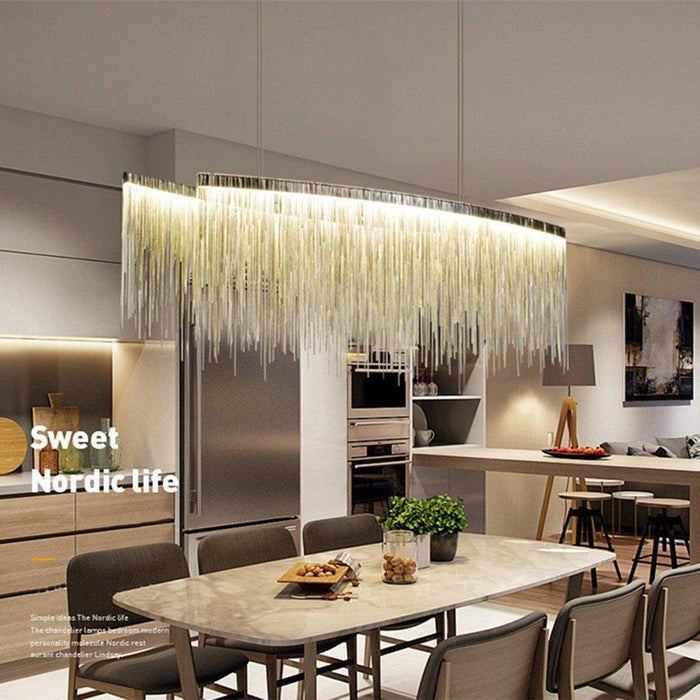 Post Modern Rectangle Aluminum Tassel Linear Chandelier - Island