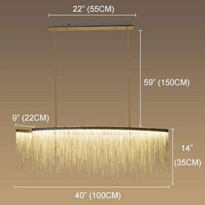 Post Modern Rectangle Aluminum Tassel Linear Chandelier - Dimension