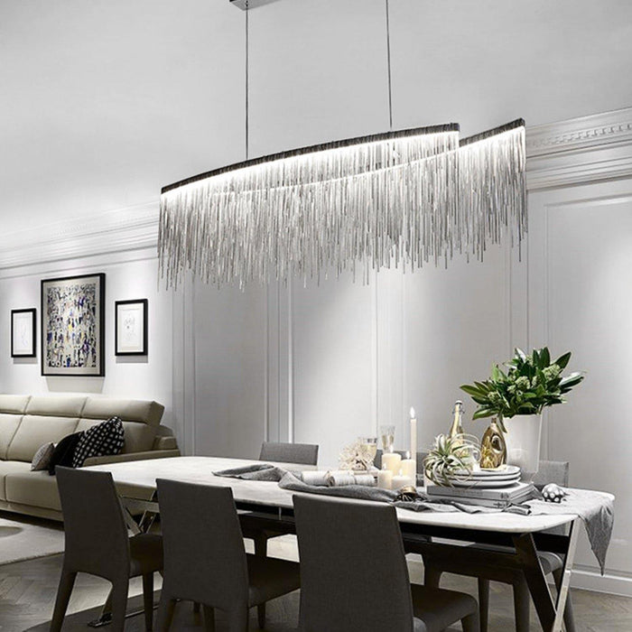 Post Modern Rectangle Aluminum Tassel Linear Chandelier - Dining room
