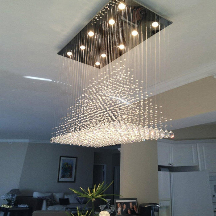 Pyramid Raindrop Crystal Chandelier Ceiling Light