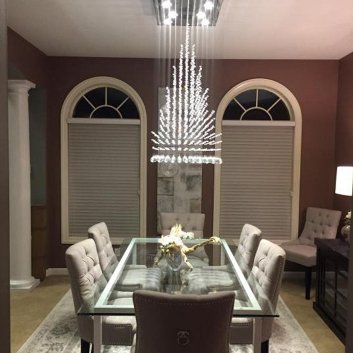 Pyramid Raindrop Crystal Chandelier Ceiling Light - Dining room