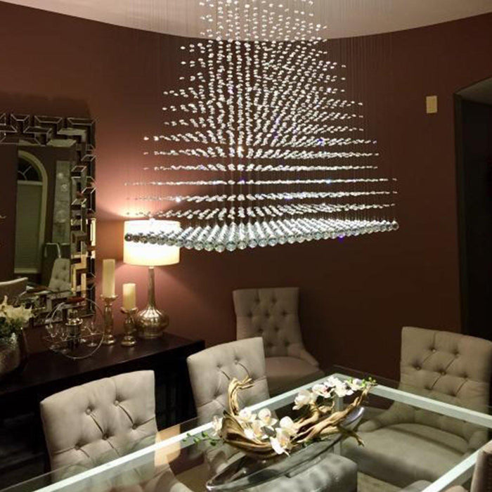 Pyramid Raindrop Crystal Chandelier Ceiling Light - Details