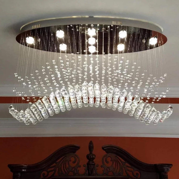 Rain Drop Crystal Chandelier with Oval Ceiling Base