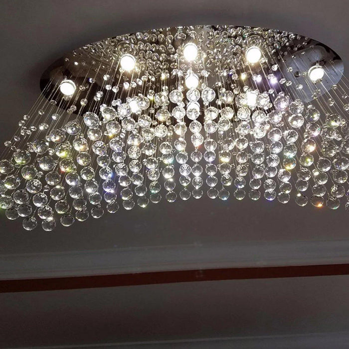 Rain Drop Crystal Chandelier with Oval Ceiling Base - Details