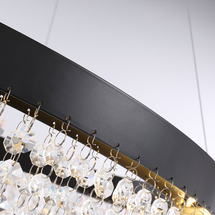 Raindrop Crystal Chandelier Matt Black Frame Detail