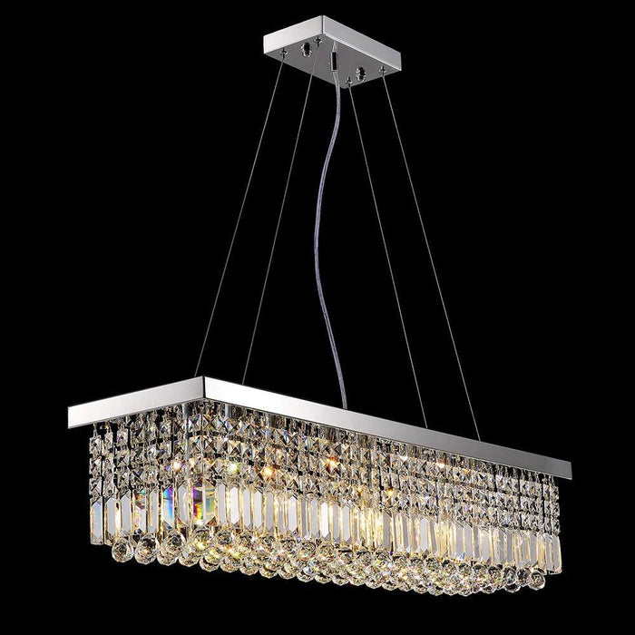 Raindrop Rectangular Crystal Chandelier for Dining Room - Lighting Effect Display