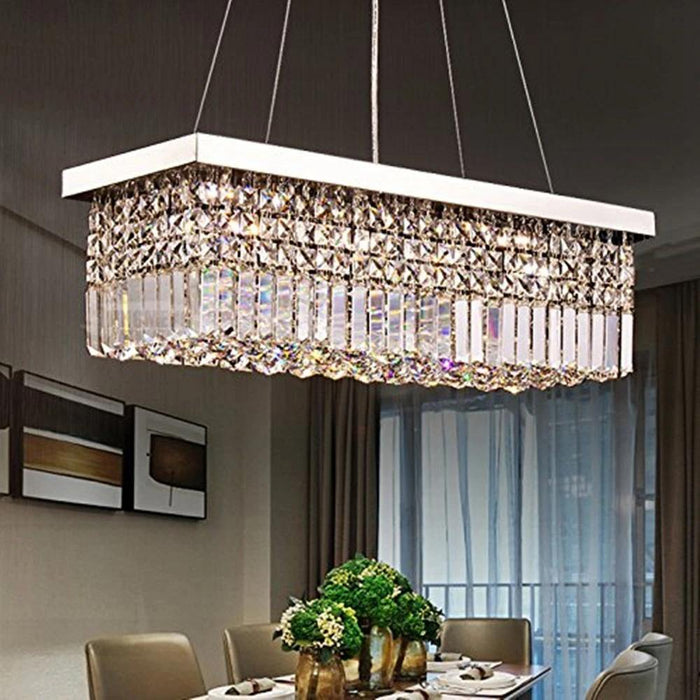 Contemporary Rectangle Crystal Chandelier Chrome