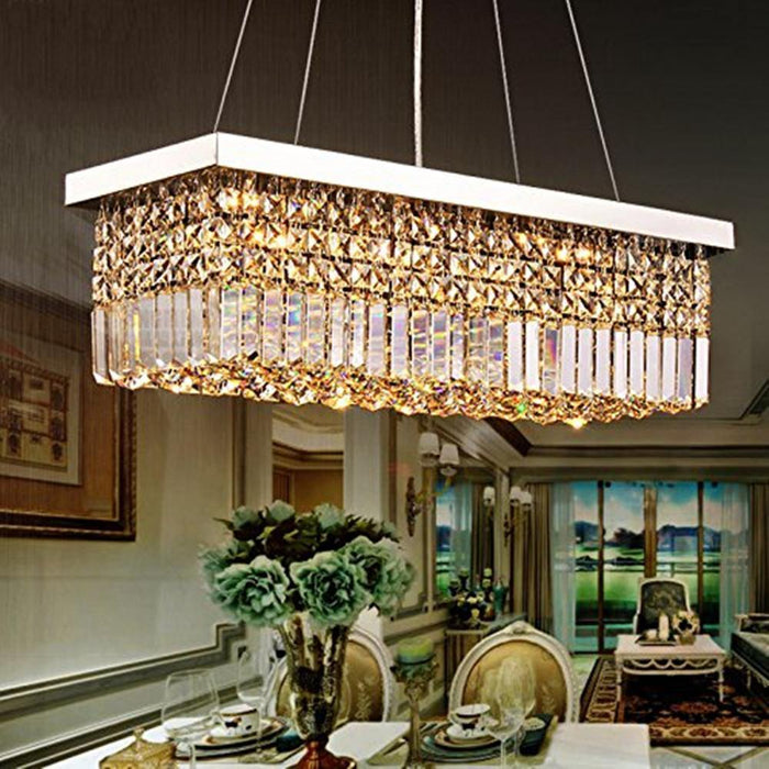 Raindrop Rectangular Crystal Chandelier for Dining Room - Dining Room