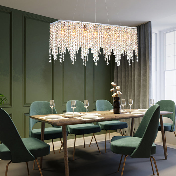 Rectangle Linear Crystal Chandelier-7PMLIGHTING