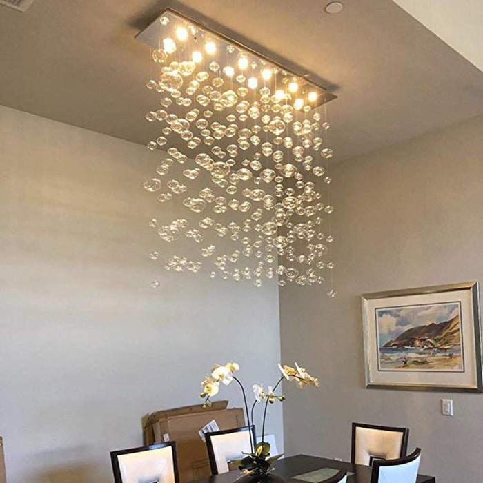 Rectangle Bubble Chandelier Flush Mount Ceiling Light - Lighting Effect Display